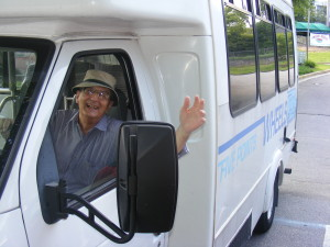 Pete drives the 5 Points Wheels bus on Wednesdays.